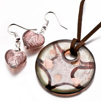 Necklace & Pendants - atrovirens round heart earrings murano glass pendant earrings set Image.