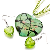 Necklace & Pendants - green heart black stripes murano glass pendant earrings set Image.