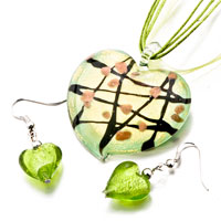 Necklace & Pendants - pale green heart line murano glass pendant earrings set Image.