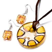 Necklace & Pendants - yellow silver foil starfish round murano glass pendant necklace Image.