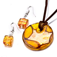 Necklace & Pendants - yellow round square earrings murano glass pendant earrings set Image.