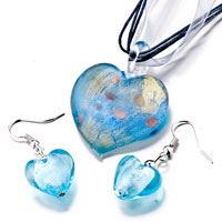 Necklace & Pendants - 3  pieces of pale blue heart murano glass pendant Image.