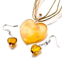 Necklace & Pendants - yellow heart shaped murano glass pendant earrings set Image.