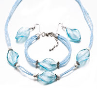 Necklaces - 4  pieces of aquamarine bracelet earrings jewelry set necklace Image.