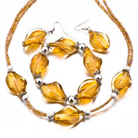Necklaces - 4  pcs topaz swirl beads bracelet earrings necklace jewelry set Image.