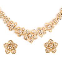 Earrings - 14 k gold plated flower clear rhinestone crystal pendant earrings set Image.