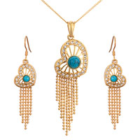 Earrings - 22 k gold plated heart turquoise crystal dangle pendant earrings set Image.