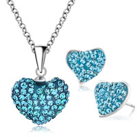 Earrings - heart stud earrings and pendant necklace set aquamarine blue cz crytals Image.