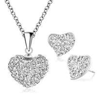 Earrings - heart stud earrings and pendant necklace set clear white cz crytals Image.