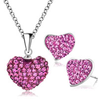 Earrings - heart stud earrings and pendant necklace set rose pink cz crytals Image.
