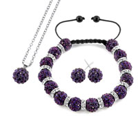 Necklace & Pendants - purple disco charm bead set rhinestone crystal shamballa ball stud earrings pendant necklace bracelet Image.