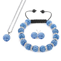 Necklace & Pendants - royal blue disco charm bead set rhinestone crystal shamballa ball stud earrings pendant necklace bracelet Image.