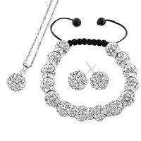Necklace & Pendants - white disco charm bead set rhinestone crystal shamballa ball stud earrings pendant necklace bracelet Image.