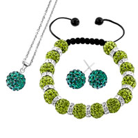 Necklace & Pendants - emerald green disco charm bead rhinestone crystal shamballa ball set pendant Image.
