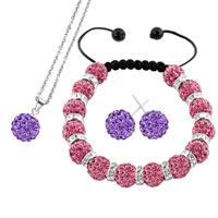 Necklace & Pendants - light purple disco charm bead set rhinestone crystal shamballa ball stud earrings pendant necklace bracelet Image.