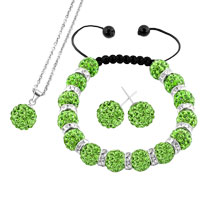 Necklace & Pendants - peridot green disco charm bead set rhinestone crystal shamballa ball stud earrings pendant necklace bracelet Image.