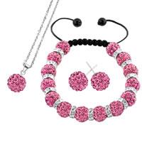 Necklace & Pendants - rose pink disco charm bead set rhinestone crystal shamballa ball stud earrings pendant necklace bracelet Image.