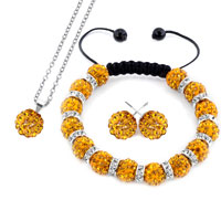 Necklace & Pendants - yellow disco charm beaded rhinestone crystal shamballa ball set pendant Image.