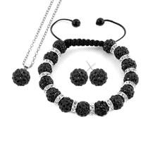 Necklace & Pendants - black disco charm bead set rhinestone crystal shamballa ball stud earrings pendant necklace bracelet Image.