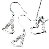Sterling Silver Jewelry - 3  pieces of 925  sterling silver swarovski crystal heart pendant necklace gifts for mothers day Image.