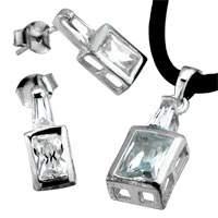 Sterling Silver Jewelry - 925  sterling silver april birthstone square pendant Image.