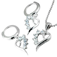 Sterling Silver Jewelry - 3  pieces of swarovski crystal heart pendant necklace and earrings set for mothers day gifts Image.