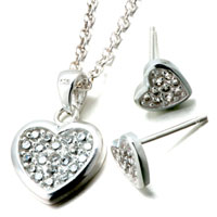 Necklace & Pendants - 3  pieces of 925  sterling silver heart april birthstone crystal wedding pendant earrings set jewelry gift cubic zirconia pendants necklace Image.