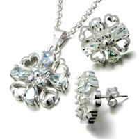 Necklace & Pendants - 3  pieces of 925  sterling silver heart flower april birthstone crystal wedding pendant& earring set jewelry gift cubic zirconia pendants necklace Image.