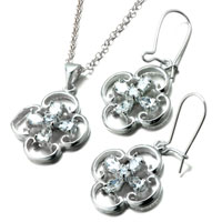 Necklace & Pendants - 3  pieces of 925  sterling silver clover april birthstone crystal wedding pendant earrings set jewelry gift cubic zirconia pendants necklace Image.