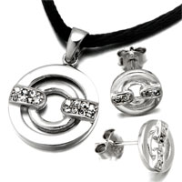 Necklace & Pendants - 3  pieces of double circle april birthstone clear crystal 925  sterling silver pendant earrings set jewelry gift cubic zirconia pendants necklace Image.