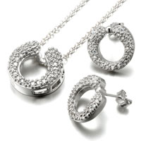 Necklace & Pendants - 3  pieces of 925  sterling silver circle april birthstone clear crystal earrings pendant set jewelry gift cubic zirconia pendants necklace Image.