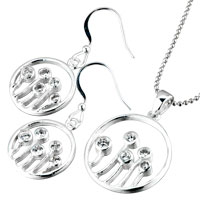 Sterling Silver Jewelry - 3  pieces of 925  sterling silver april birthstone circle pattern pendant Image.
