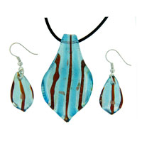 Murano Glass Jewelry - blue/ red striped leaf drop earring pendant murano glass jewelry set Image.