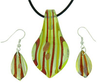 Murano Glass Jewelry - olive/ amber striped leaf drop murano glass necklace pendant Image.