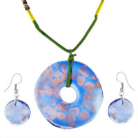 Murano Glass Jewelry - blue and gold pendant murano glass jewelry set Image.