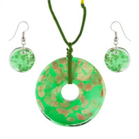 Murano Glass Jewelry - bright green and gold pendant murano glass jewelry set Image.