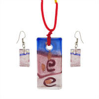 Murano Glass Jewelry - blue and red rectangle earrings pendant murano glass jewelry set Image.