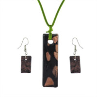 Murano Glass Jewelry - black gold rectangle fashions earring pendant murano glass jewelry set Image.