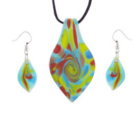 Necklaces - multicolored teardrops murano glass pendant earrings set necklace Image.