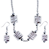 Necklaces - 3  pieces of silver tone foil square earring set earrings necklace Image.
