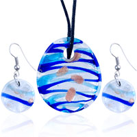 Necklace & Pendants - silver foil green crusted round pendant earrings set Image.