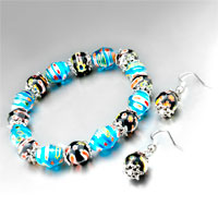 Murano Glass Jewelry - 3  pieces of blue &  black earring bracelet murano glass jewelry set pendant Image.