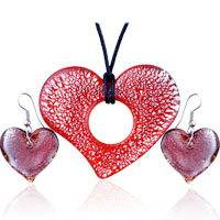 Necklace & Pendants - silver foil red crusted heart shaped pendant earrings set Image.