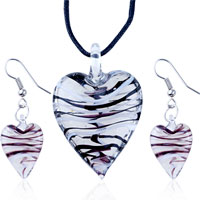 Necklace & Pendants - 3  pieces of white black stripe slender heart pendant earring set Image.