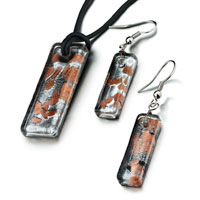 Necklace & Pendants - orange pattern square murano glass lampwork pendant earrings set Image.