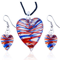 Necklace & Pendants - 3  pieces of red blue stripe slender heart pendant earring set Image.