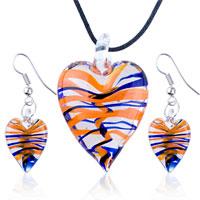 Necklace & Pendants - 3  pieces of jewelry orange blue stripe slender heart pendant earring set Image.