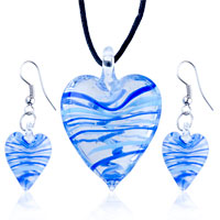 Necklace & Pendants - 3  pieces of blue azure stripe slender heart pendant earring set Image.