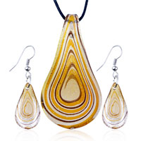 Necklace & Pendants - brown tan growth ring pattern murano glass pendant earring set Image.