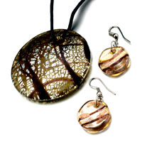 Necklace & Pendants - silver foil yellow crusted round pendant earrings set Image.